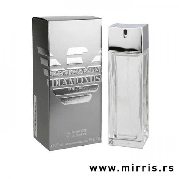 Siva kutija i boca originalnog parfema Giorgio Armani Diamonds For Men