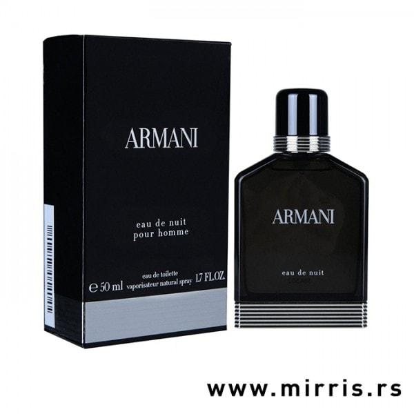 Crna bočica originalnog parfema Giorgio Armani Eau De Nuit i kutija crne boje