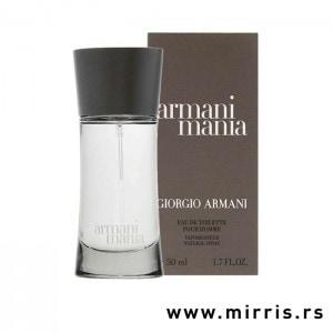 Bočica parfema Giorgio Armani Mania i kutija sive boje