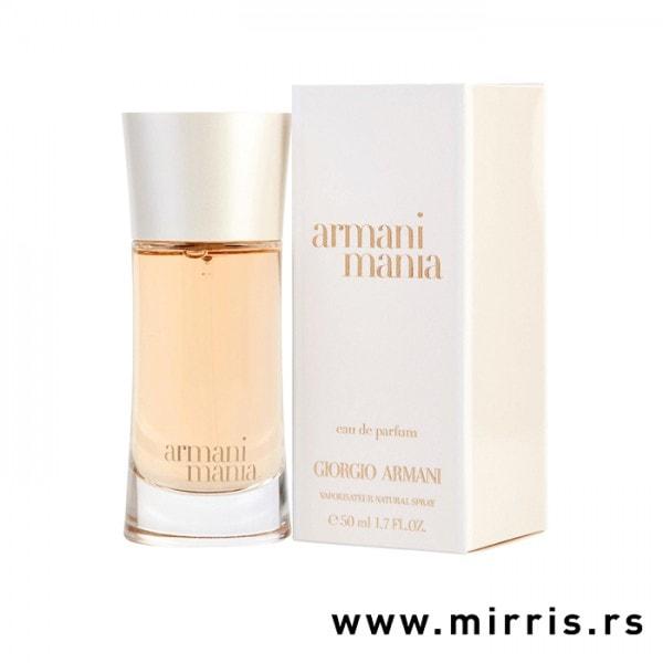 Boca originalnog parfema Giorgio Armani Mania For Women pored kutije bele boje