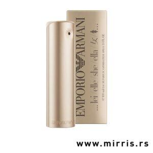 Boca originalnog mirisa Giorgio Armani She pored kutije zlatne boje