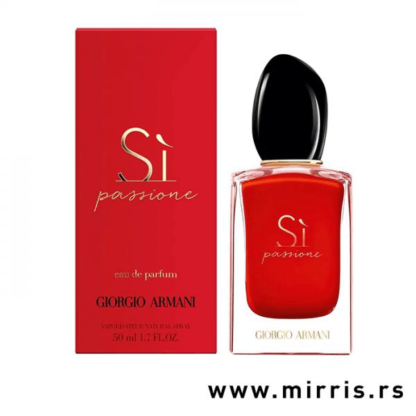 Crvena bočica parfema Giorgio Armani Si Passione i originalna crvena kutija