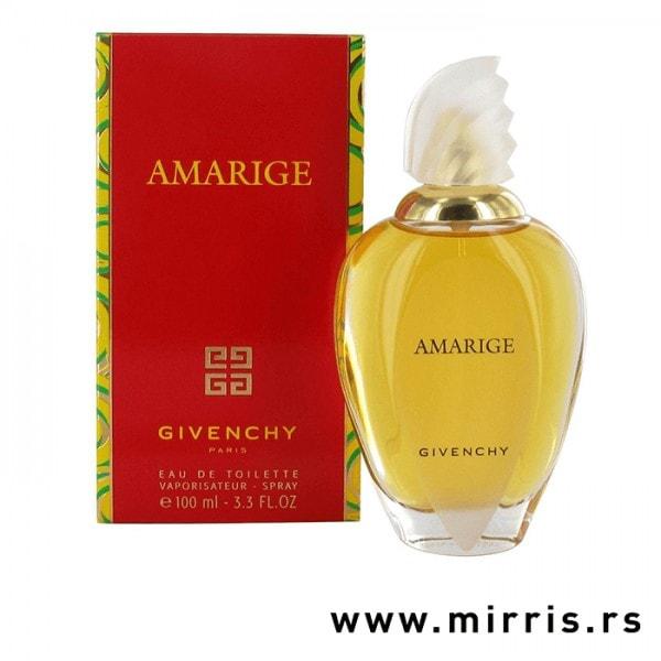 Bočica parfema Givenchy Amarige i crvena kutija