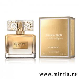 Originalni parfem Givenchy Dahlia Divin Le Nectar pored kutije zlatne boje