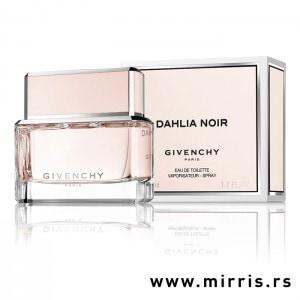 Boca parfema Givenchy Dahlia Noir roze boje pored roze kutije