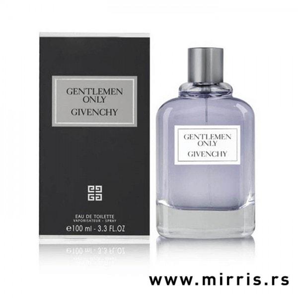 Plava bočica parfema Givenchy Gentleman Only pored originalne kutije
