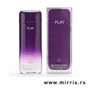 Ljubičasta boca parfema Givenchy Play For Her Intense pored originalne kutije