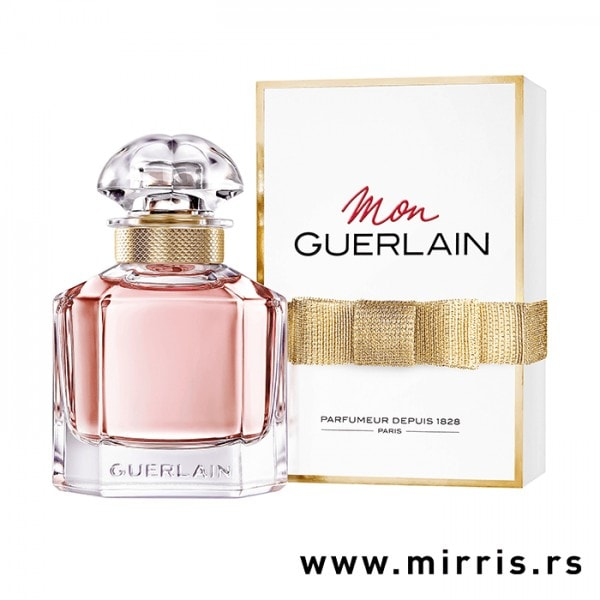 Roze boca parfema Guerlain Mon Guerlain pored originalne kutije