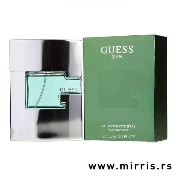 Boca parfema Guess Man pored originalne zelene kutije