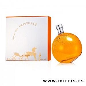 Narandžasta boca parfema Hermes Elixir Des Merveilles i originalna kutija