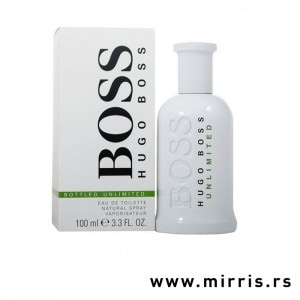 Bela boca parfema Hugo Boss Bottled Unlimited pored bele originalne kutije