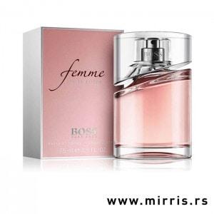 Roze bočica originalnog parfema Hugo Boss Femme i kutija roze boje