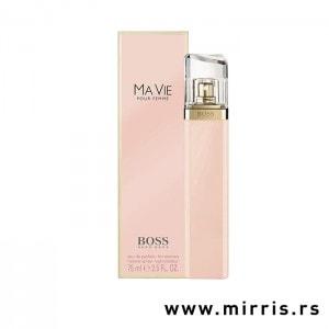 Flašica originalnog parfema Hugo Boss Ma Vie Pour Femme i kutija roze boje