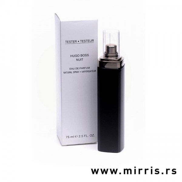 Kutija bele boje pored crne bočice testera Hugo Boss Nuit Pour Femme
