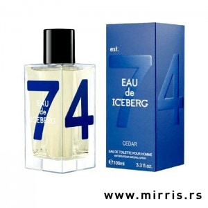 Boca parfema Iceberg Eau De Iceberg Cedar pored kutije plave boje