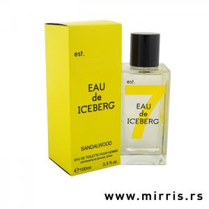 Bočica originalnog mirisa Iceberg Eau De Iceberg Sandalwood i kutija žute boje