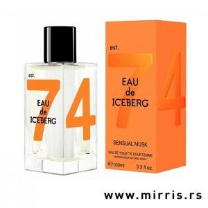 Bočica originalnog mirisa Iceberg Eau De Iceberg Sensual Musk i kutija narandžaste boje
