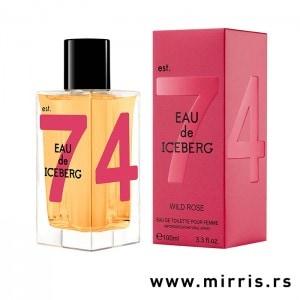 Flašica originalnog parfema Iceberg Eau De Iceberg Wild Rose i crvena kutija