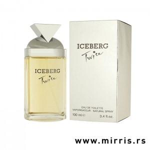 Bočica parfema Iceberg Twice pored originalne kutije bele boje
