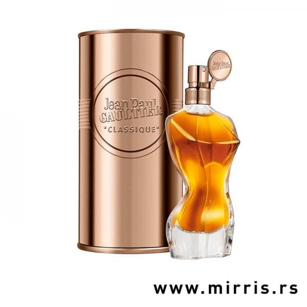 Žuta flašica originalnog mirisa Jean Paul Gaultier Classique Essence de Parfum i limena kutija