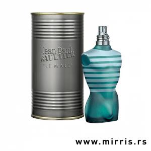 Boca originalnog parfema Jean Paul Gaultier Le Male i siva limena kutija