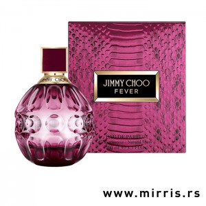 Ljubičasta bočica parfema Jimmy Choo Fever pored originalne kutije