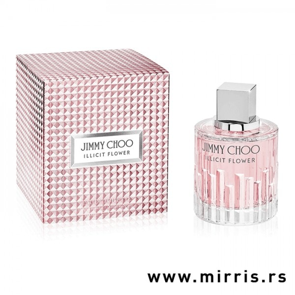 Roza boca parfema Jimmy Choo Illicit Flower i njegova originalna kutija
