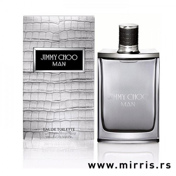 Siva kutija i bočica originalnog parfema Jimmy Choo Man