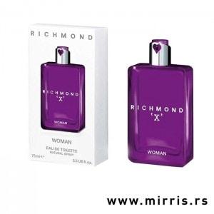 Ljubičasta bočica parfema John Richmond X Woman i originalna kutija