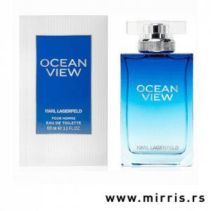 Plava boca parfema Karl Lagerfeld Ocean View Pour Homme pored originalne kutije