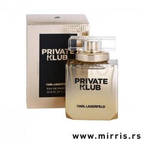 Bočica parfema Karl Lagerfeld Private Klub For Women zlatne boje pored originalne kutije