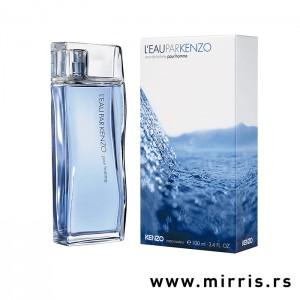 Plava boca parfema Kenzo L'eau Par Pour Homme i originalna kutija