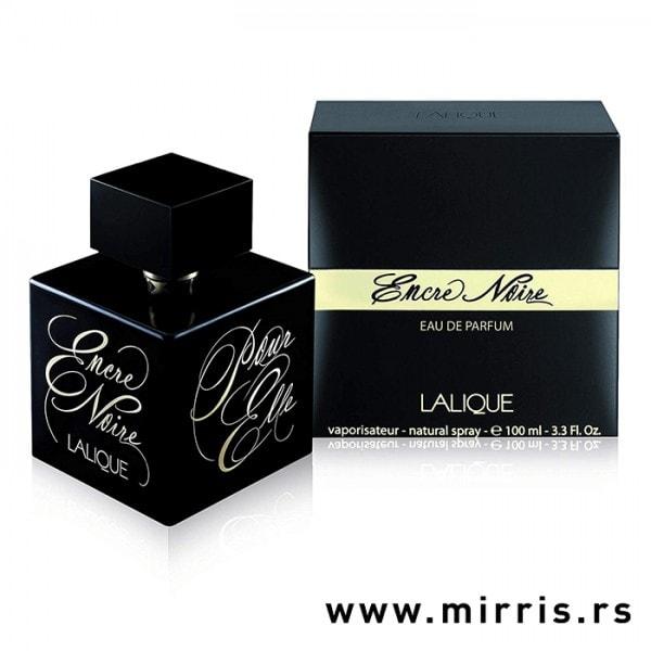 Crna bočica parfema Lalique Encre Noire Pour Elle pored crne kutije