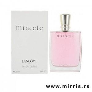 Roze boca testera Lancome Miracle i bela kutija