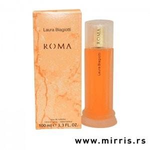 Narandžasta boca parfema Laura Biagiotti Roma pored kutije