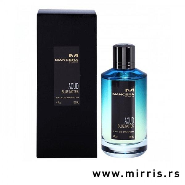 Plava bočica parfema Mancera Aoud Blue Notes pored originalne kutije