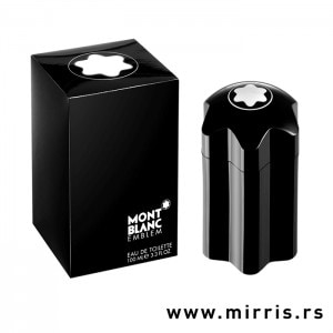 Crna bočica originalnog parfema Montblanc Emblem pored kutije crne boje