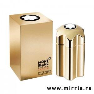 Kutija zlatne boje i boca originalnog parfema Montblanc Emblem Absolu