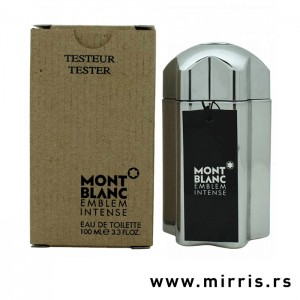 Boca testera Montblanc Emblem Intense srebrne boje pored kutije