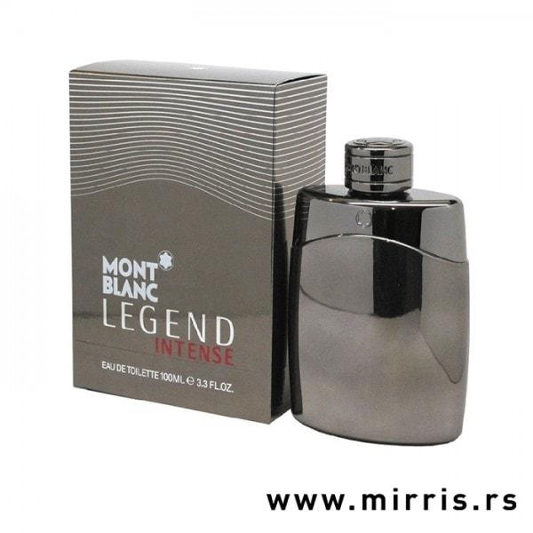 Siva boca parfema Montblanc Legend Intense i njegova kutija