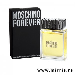 Boca originalnog parfema Moschino Forever pored crne kutije