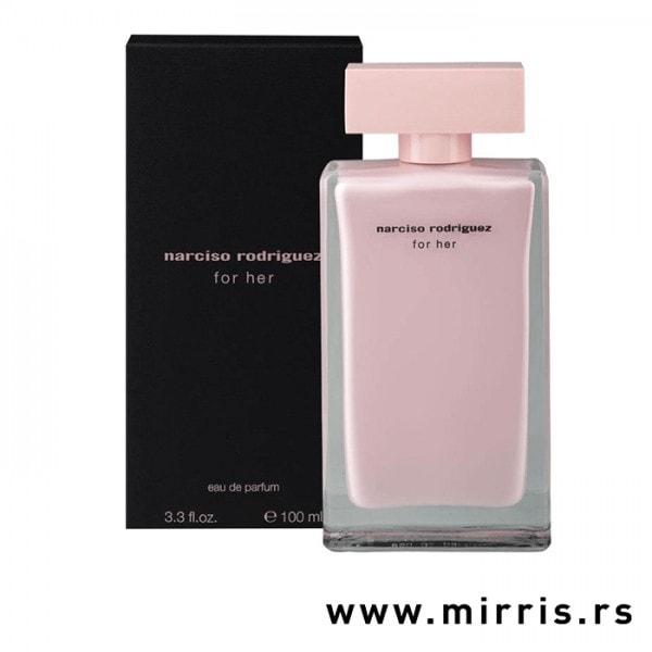 Boca originalnog mirisa Narciso Rodriguez For Her pored crne kutije