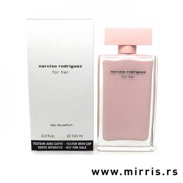 Bela kutija i roze boca testera Narciso Rodriguez For Her