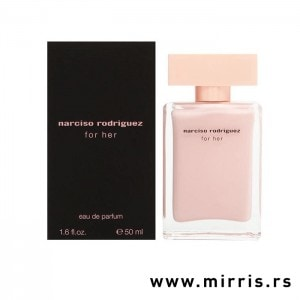 Roze bočica originalnog parfema Narciso Rodriguez For Her i crna kutija