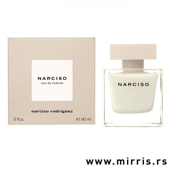 Boca originalnog parfema Narciso Rodriguez Narciso pored ljubičaste kutije