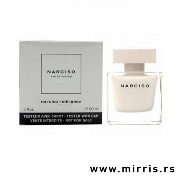 Kutija bele boje i boca testera Narciso Rodriguez Narciso