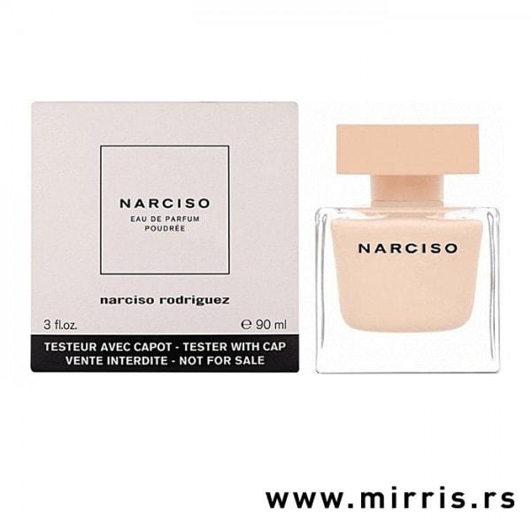Bela kutija i roze boca testera Narciso Rodriguez Narciso Poudree