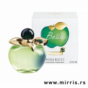 Zelena boca parfema Nina Ricci Bella u obliku jabuke i bela kutija