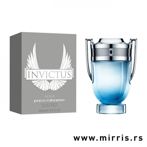 Siva kutija i bočica originalnog parfema Paco Rabanne Invictus Aqua