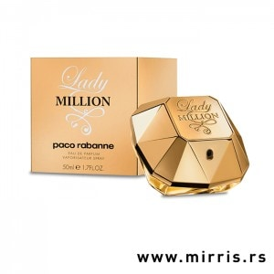 Boca originalnog parfema Paco Rabanne Lady Million pored kutije zlatne boje
